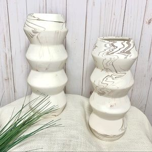 Project 62 White Brown Marbled Vases - Set of 2